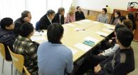 Members of Scientific Advisory Committee in meeting with postgraduate student representatives