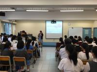 The programme consultation session conducted by Dr. Ann Lau, Assistant Director (Undergraduate Education - BSc in Biomedical Science Programme) at Carmel Holly Work Secondary School