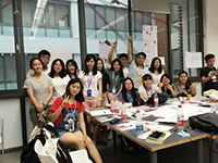 Group mates pose for a photo in the workshop (Photo Credit: Miss Judy Pan)