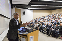 Prof. Nicholas A. Christakis, Sol Goldman Family Professor of Social and Natural Science of Yale University, delivers a keynote presentation in the symposium