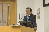 Prof. Benjamin Wah, Provost and Wei Lun Professor of Computer Science and Engineering of CUHK, delivers a keynote presentation in the symposium
