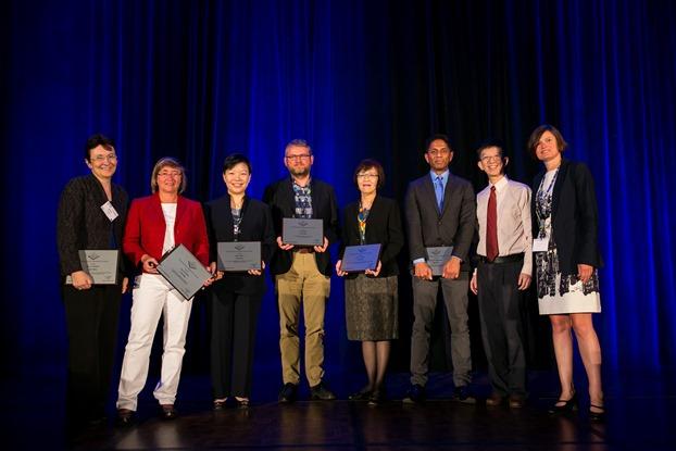 ISCA Fellows 2016 Class at INTERSPEECH 2016 Opening Ceremony, from left to right, Mary Harper, Tanja Schultz, Helen Meng, Steve Renals, Chiu-yu Tseng, Shri Narayanan, Haizhou Li (ISCA President), Kate Knill (ISCA Board Member)