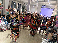 Participating students dance at the Farewell Party, led by teachers from the host (Photo credit: Mr Ares Chan; programme host: Yunnan University of Finance and Economics)