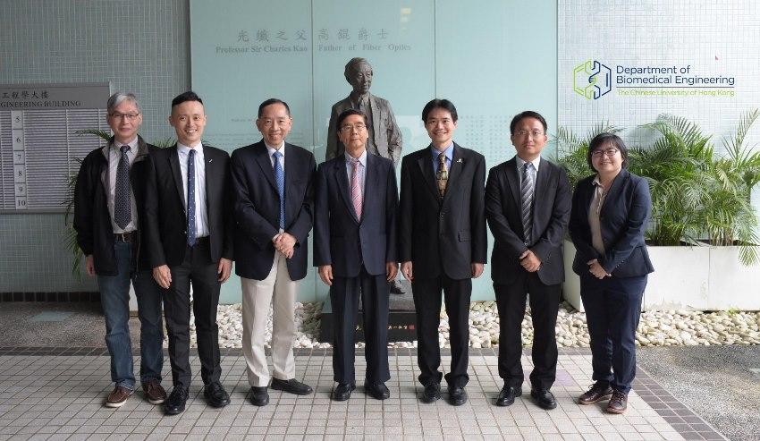 (From left) Prof. Aaron Ho, Prof. Jonathan Choi, Prof. Arthur Mak, Prof. C. P. Wong, Prof. Raymond Tong, Prof. Bian Liming and Prof. Megan Ho