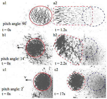 Fig. 4. The change in the morphology of a mobile vortex-like swarm. The original patterns of nanoparticle swarms are in red circles in (a1), (b1) and (c1), and the final patterns after locomotion are shown in red dotted curves in (a2), (b2) and (c2). Meanwhile, the original locations are labeled with blue dotted circles.  (Ref. [4-5])