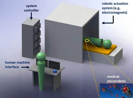 Fig. 1. Schematic of microrobotic targeted delivery for potential in vivo applications such as minimally invasive medicine
