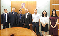 Prof. Chen Jian (third from left), President of Jiangnan University, visits CUHK and meets with Prof. Fok Tai-fai (fourth from right), Pro-Vice-Chancellor of CUHK