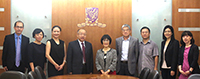 浙江省科學技術廳廳長周國輝先生(左四)率團來校訪問,與中大張妙清副校長(中)會晤