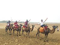 與好友在沙塵暴中騎駱駝(蘭州大學活動參加者崔泳君同學提供)