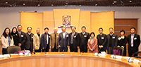 President Tuan (middle) and CUHK members warmly welcome the academician delegation from CAS