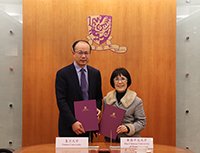 Professor Fanny Cheung, Pro-Vice-Chancellor of CUHK and Professor Chen Zhimin, Vice President of FDU signed the Renewal Collaboration Agreement of Shanghai-Hong Kong Development Institute