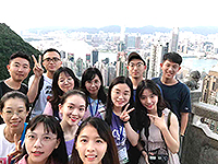 "Participants of the Summer Camp ""check in"" at the Victoria Peak"
