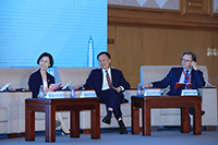 """Prof. Wong Suk-ying, Associate-Vice-President of CUHK (first from left) speaks at the thematic session """"Philanthropy in the Greater Bay Area and Talent Nurturing""""."""