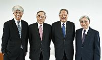 (From left) Prof. Joseph Yam, Distinguished Research Fellow of the Institute of Global Economics and Finance; Prof. Lawrence J. Lau, former Vice-Chancellor and Ralph and Claire Landau Professor of Economics; Prof. Cheng Siwei and Prof. Liu Pak-wai, Director of the Institute of Global Economics and Finance