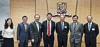 Prof. Cheng Siwei (third from right) is warmly received by CUHK Vice-Chancellor Prof. Joseph Sung (middle) and representatives of the University, including (second and first from right) Prof. Benjamin Wah, Provost; Prof. Michael Hui, Pro-Vice-Chancellor; (third, second and first from left) Prof. Jack Cheng, Pro-Vice-Chancellor; Prof. Wong Tak-jun, Dean of Business Administration; and Ms. Wing Wong, Director of Office of Academic Links (China)