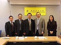 Prof. Jack Cheng (2nd from right), Pro-Vice-Chancellor of CUHK welcomes the visit of Prof. Ren Youqun (3rd from left), Vice-President of Huazhong Normal University