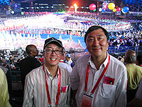 Prof. Joseph Sung (right), Vice-Chancellor of CUHK attends the opening ceremony of the 26th Universiade