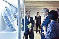 Prof. Lu Yongxiang (2nd from right), Vice-Chairman, Standing Committee of the National People's Congress of the People's Republic of China visits the Art Museum
