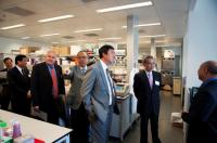 Mr. Edward Cheng, SBS, JP, (2nd from right), Dr. Richard Armour (3rd from left) and the Senior Management of the University including Prof. Joseph Sung, Vice-Chancellor and President (3rd from right) visit the open laboratory of our School