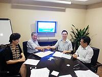 From left: Prof. Chen Zi-jiang of Shandong University; Prof.  Chan Wai-yee of CUHK; and Prof. Ma Jin-loong of Shandong University, Prof. Lu Gang of CUHK