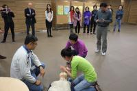 First aiders offer assistance to the personnel with cardiac arrhythmias (simulated scenario)
