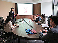 The delegation from Tianjin University meets with Prof. Kenneth Young (2nd on left), Master of C.W. Chu College