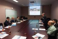 Prof. Chan Wai-Yee gives a brief introduction of the School of Biomedical Sciences to the delegation