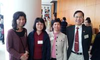 Prof. Fung Kwok-pui, Associate Director (Administration) (right) with Ms. Chan Fu-kwai (1st from left), Mrs. Carmen Y.Y. Lau (2nd from left) and Ms. Esther L.F. Yuen (2nd from right)