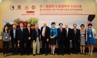 Group photo of Prof. Chan Wai-yee (5th from  left), Prof. Leung Tak Yeung (5th from right), Prof. Chen Zijiang, Vice Dean, School of Medicine of Shandong University and Vice President of Shandong University (6th from right), Prof. Ma Jin-loong, Co-Director of the Joint Laboratory (3rd from left) and Prof. Richard Choy (4th from left) taken with other speakers during the symposium