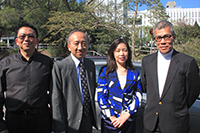 Prof. Hau Kit-tai (2nd from left), Pro-Vice-Chancellor of CUHK welcomes Prof. Zhang Yinjie (2nd from right), President of Kunming University of Science and Technology