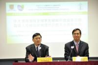 Prof. Leung Ting-fan, Chairman of Department of Paediatrics, Faculty of Medicine, CUHK (left) and Prof. Stephen K.W. Tsui (right) of the School of Biomedical Sciences at the press conference