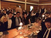 Making new friends with the Portuguese PhD couple during Queens' College formal dinner