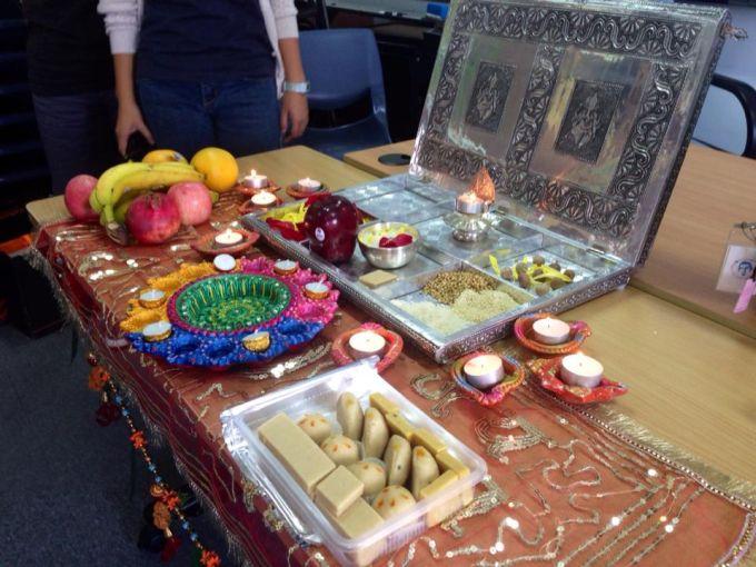 Indian Diwali: Household altar prepared by speaker Ms. Rhoria.